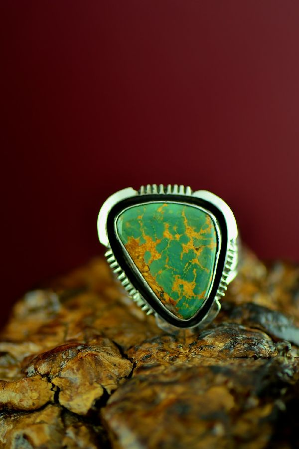Navajo Sterling Silver King�s Manassa Turquoise Ring by Will Denetdale Size 13