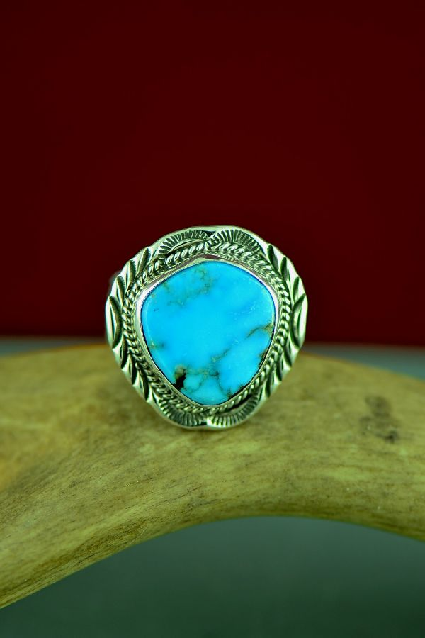 Navajo Sterling Silver Blue Gem Turquoise Ring by Will Denetdale Size 12 3/4