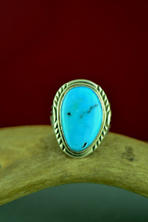 Navajo Sterling Silver Blue Gem Turquoise Ring by Will Denetdale Size 12 1/2