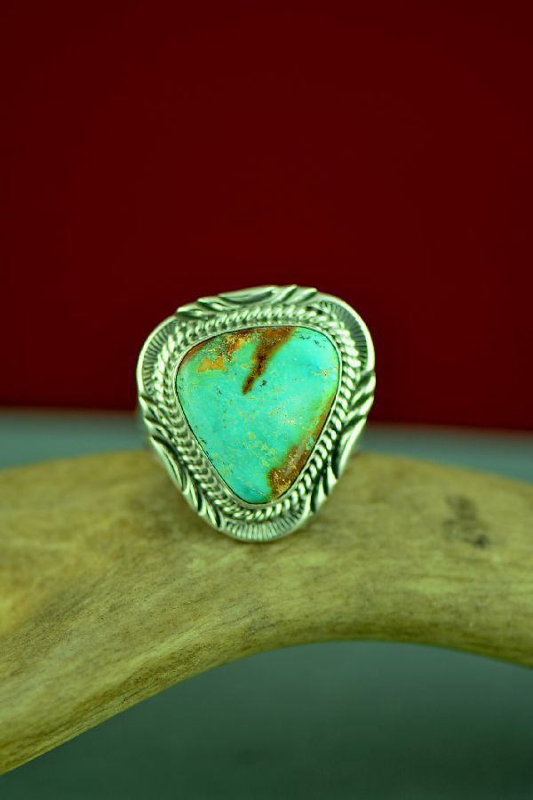 Navajo Sterling Silver Fox Turquoise Ring Will Denetdale Size 13