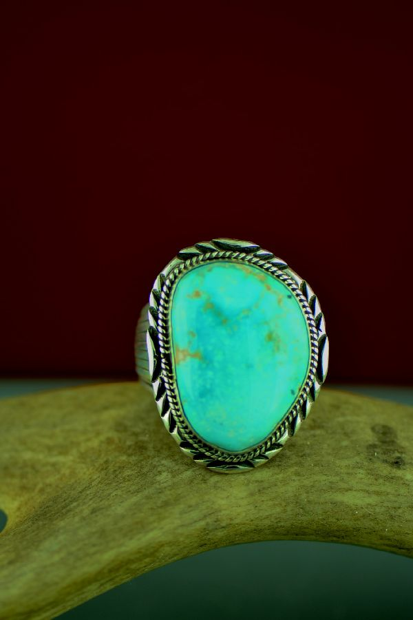 Navajo Darling Darlene Turquoise Sterling Silver Ring Will Denetdale Size 14