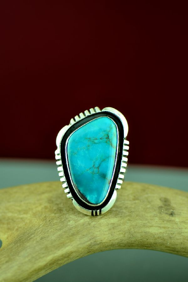 Navajo Sterling Silver Bisbee Turquoise Ring Size Will Denetdale Size 9