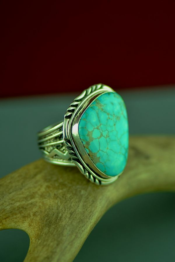 Navajo Sterling Silver Royal Blue Royston Turquoise Ring by Will Denetdale Size 12 1/2