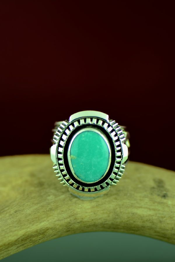 Navajo High Grade Royston Turquoise Double Stack Ring by Will Denetdale Size 10