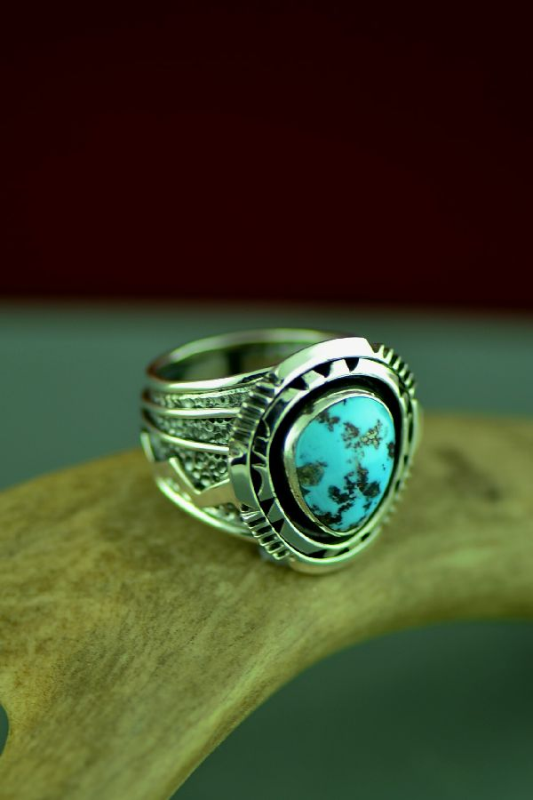 Will Denetdale High Grade Blue Gem Turquoise Double Stack Ring Size 10