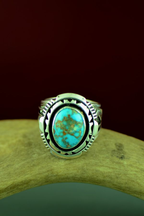 Will Denetdale High Grade Bisbee Turquoise Double Stack Ring Size 12