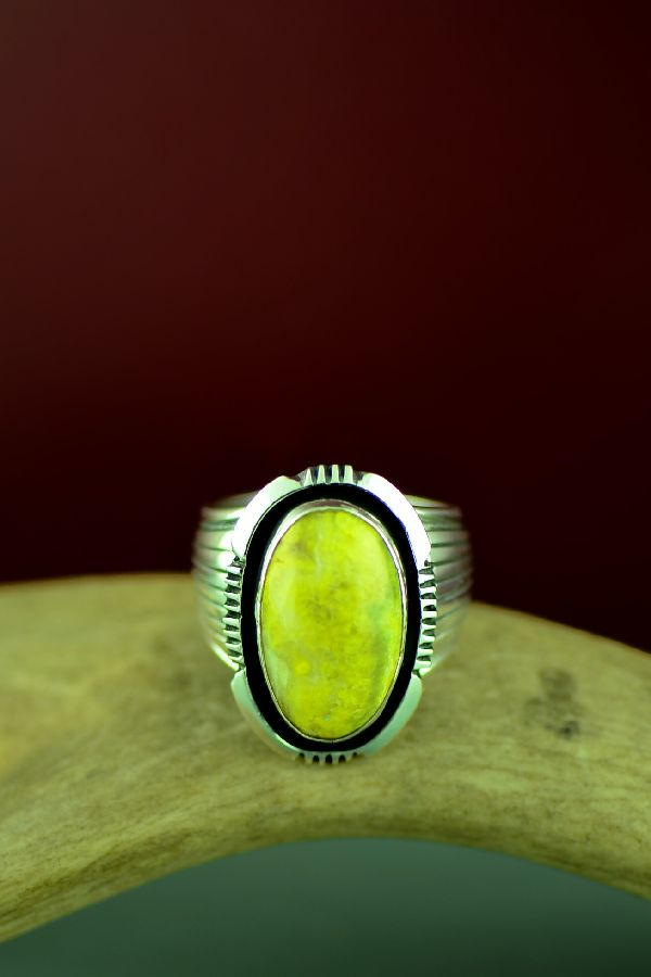 Navajo Sterling Silver Jasper Ring by Will Denetdale Size 12 1/2