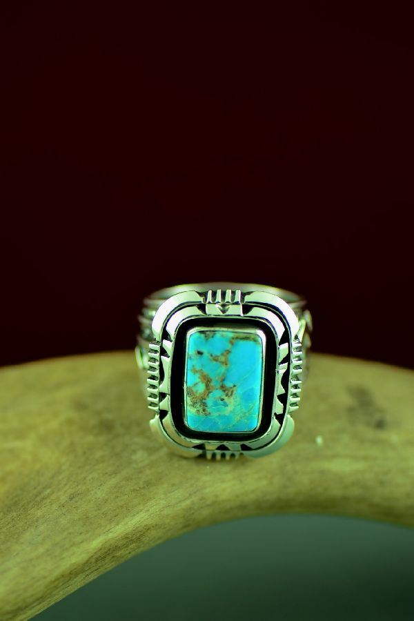 American Indian High Grade Bisbee Turquoise Ring