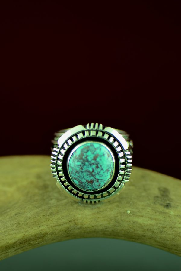 Will Denetdale High Grade Bisbee Turquoise Ring Size 11