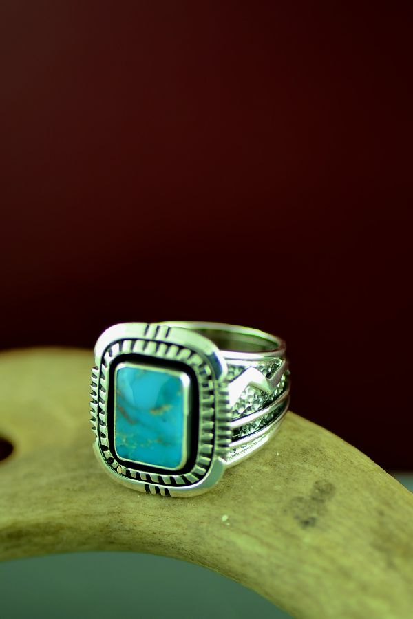 Will Denetdale High Grade Morenci Turquoise Double Stack Ring Size 11 1/2