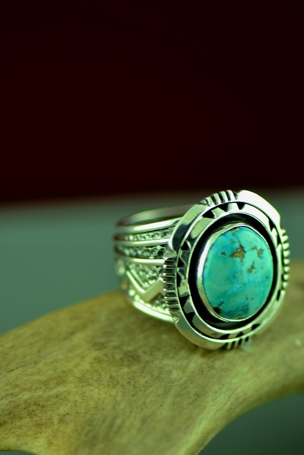 Will Denetdale High Grade Bisbee Turquoise Double Stack Ring Size 9 1/2