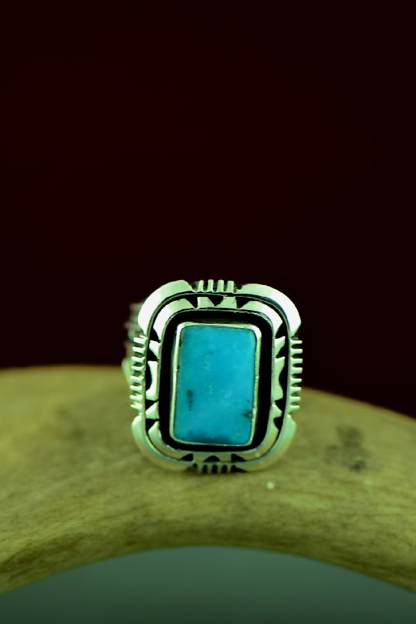 Will Denetdale High Grade Morenci Turquoise Double Stack Ring Size 8 3/4