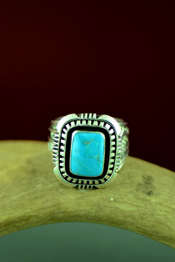 Will Denetdale High Grade Morenci Turquoise Double Stack Ring Size 12