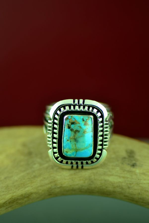 Will Denetdale High Grade Bisbee Turquoise Double Stack Ring Size 11