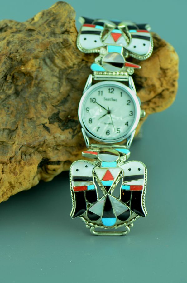 Zuni – Beautiful Sterling Silver Inlaid Thunderbird Watch Tips by Bobby and Corrine Shack