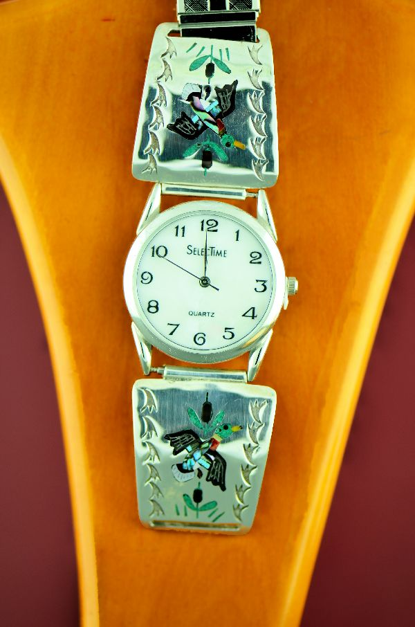 Zuni – Beautiful Sterling Silver Inlaid Mallard Duck Watch Tips by Quentin Quam