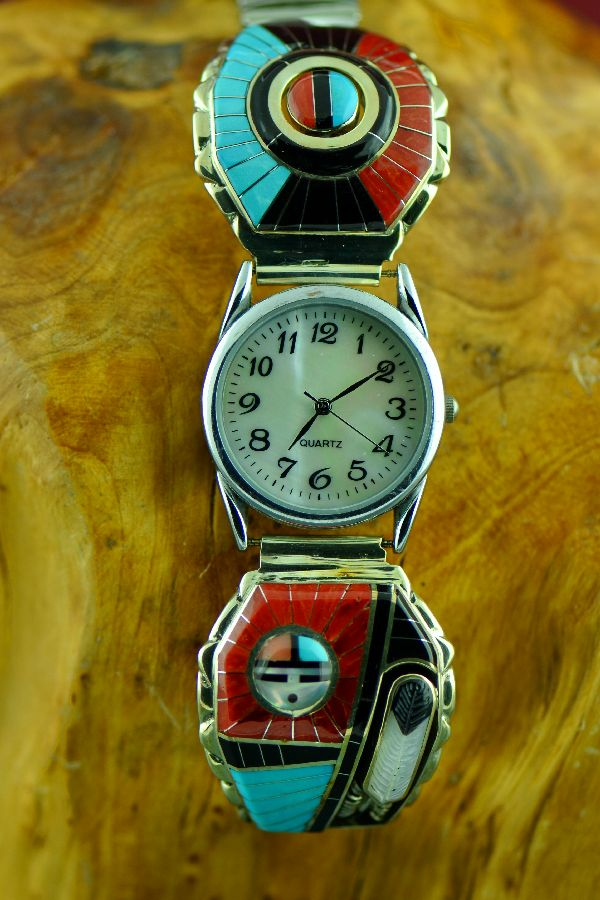 Don Dewa Sterling Silver Inlaid Turquoise, Mediterranean Coral, Jet, Mother of Pearl and Gold Lip Mother of Pearl Watch Tips - Zuni