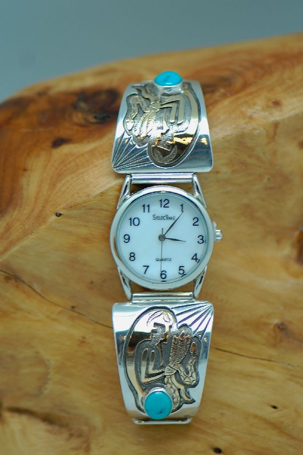 Navajo – 12ktGF and Sterling Silver Watch Tips by Sampson Gray