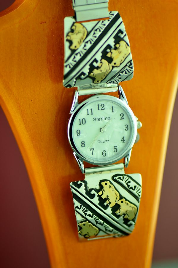 Navajo 12ktGF and Sterling Silver Bear Watch Tips by the Tommy and Rosita Singer
