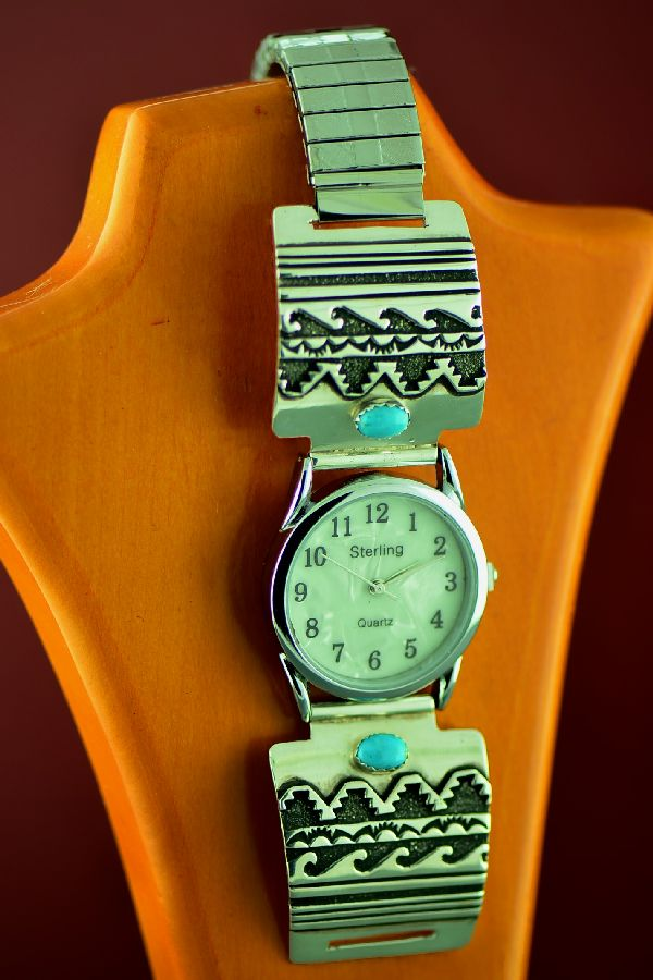 Navajo Sterling Silver Kingman Turquoise, Water and Mountain Symbol Watch Tips Rosita Singer