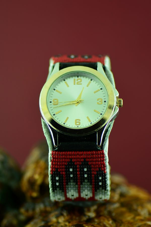 Unisex Navajo Beaded Watch Bracelet by Daniel Yazzie