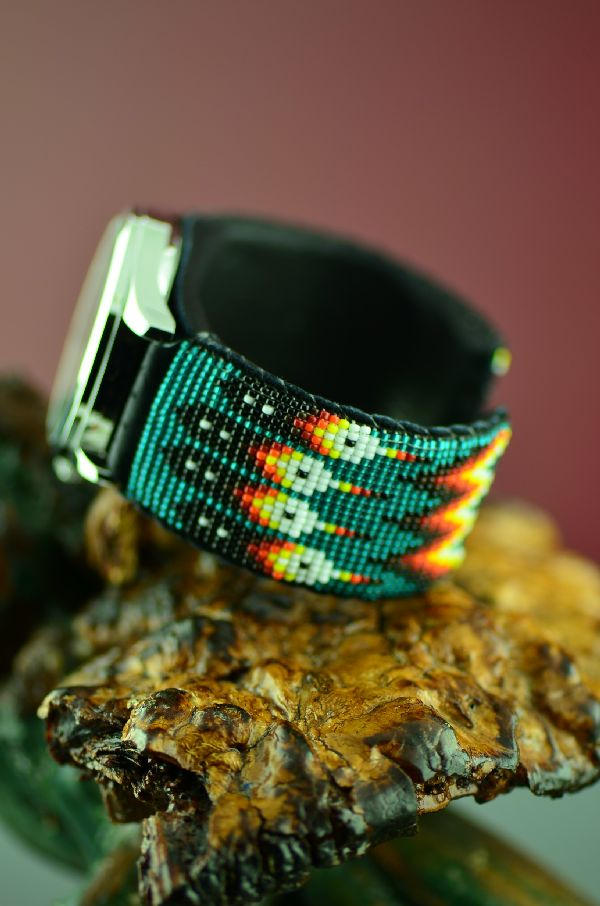 Unique Navajo Beaded Watch Bracelet by Daniel Yazzie