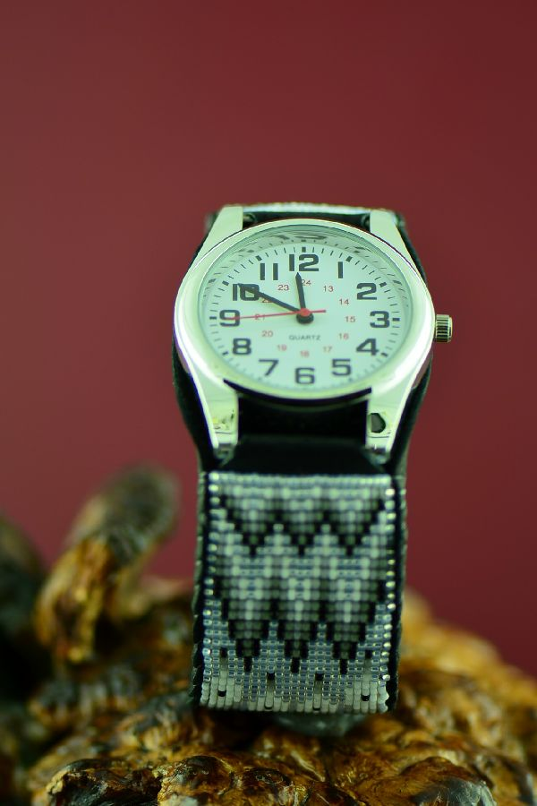 Large Native American Beaded Watch Bracelet by Daniel Yazzie