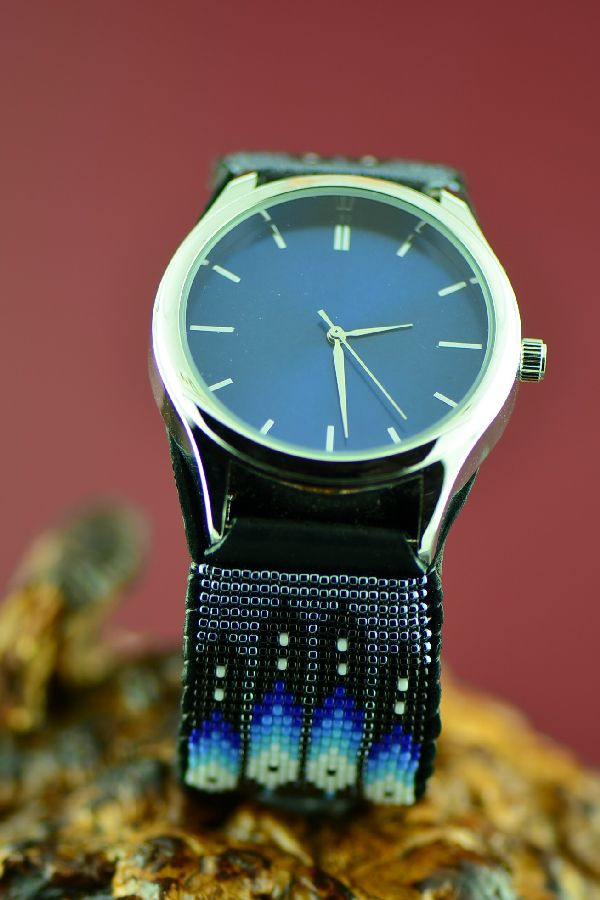 Large Beaded Native American Watch Bracelet by Daniel Yazzie