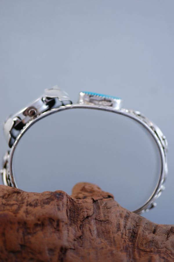 Navajo - Man's Sleeping Beauty Turquoise and Sterling Silver Watch Bracelet by Glen Willie