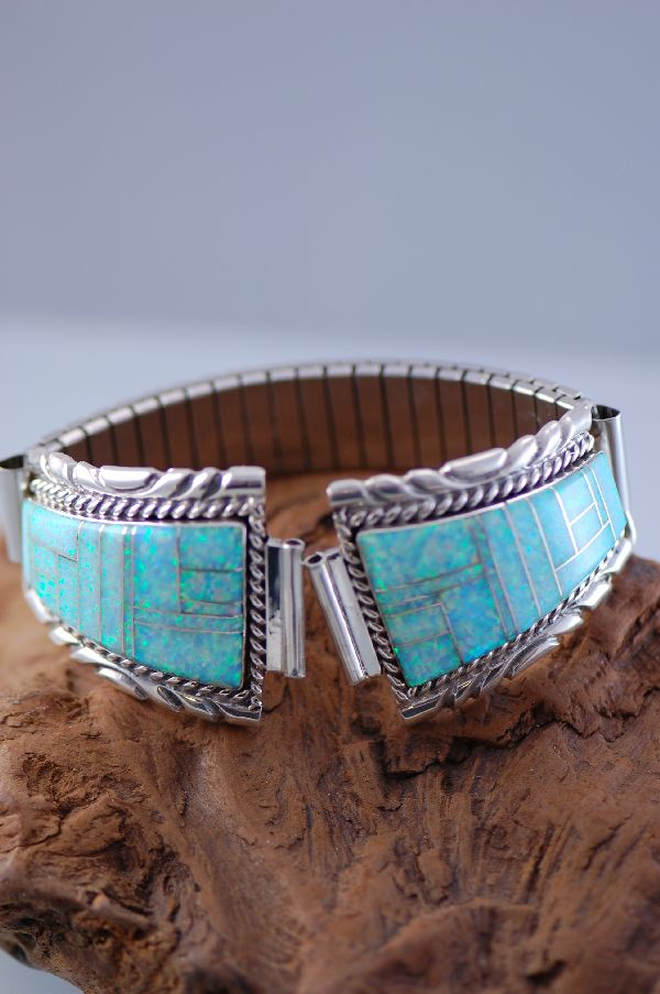 Navajo – Lab Opal Inlay Watch Band by Lucy Cayatineto