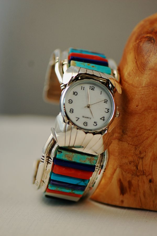 Navajo Mans Inlaid Watch Bracelet