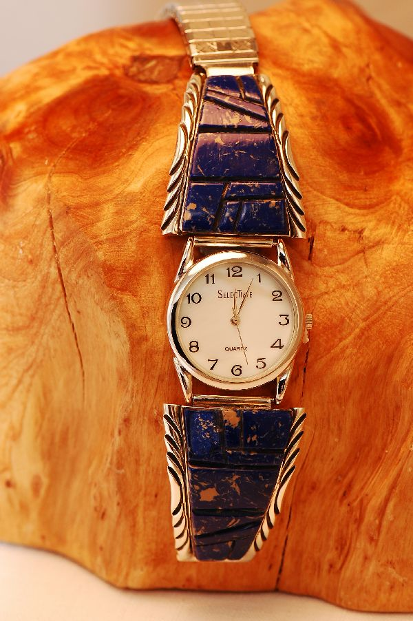 Mens Lapis Watch Tips Navajo