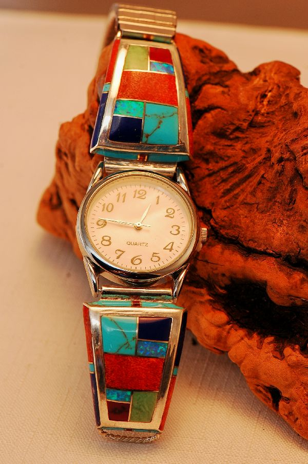 Mans Navajo Inlaid Watch Band