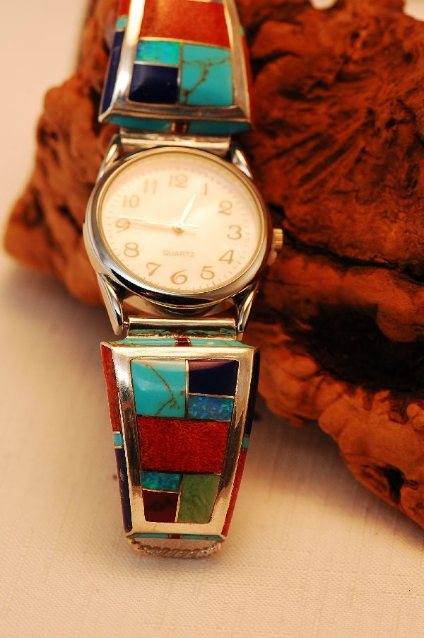 Navajo – Lapis, Turquoise, Spiny Oyster Shell, Gaspiete, Sugilite and Lab Opal Inlaid (Heavy Gauge)  Sterling Silver Watch Tips by Lucy Cayatineto
