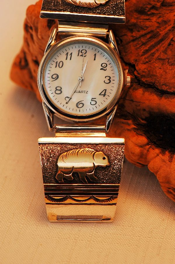 Navajo – 12ktGF and Sterling Silver Overlay Bear Watch Tips by Tommy Singer
