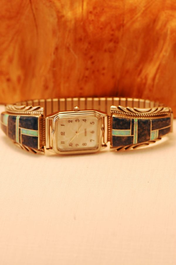 Navajo – Lapis and Lab Opal Inlaid Sterling Silver (Heavy Gauge) Watch Tips by Lucy Cayatineto