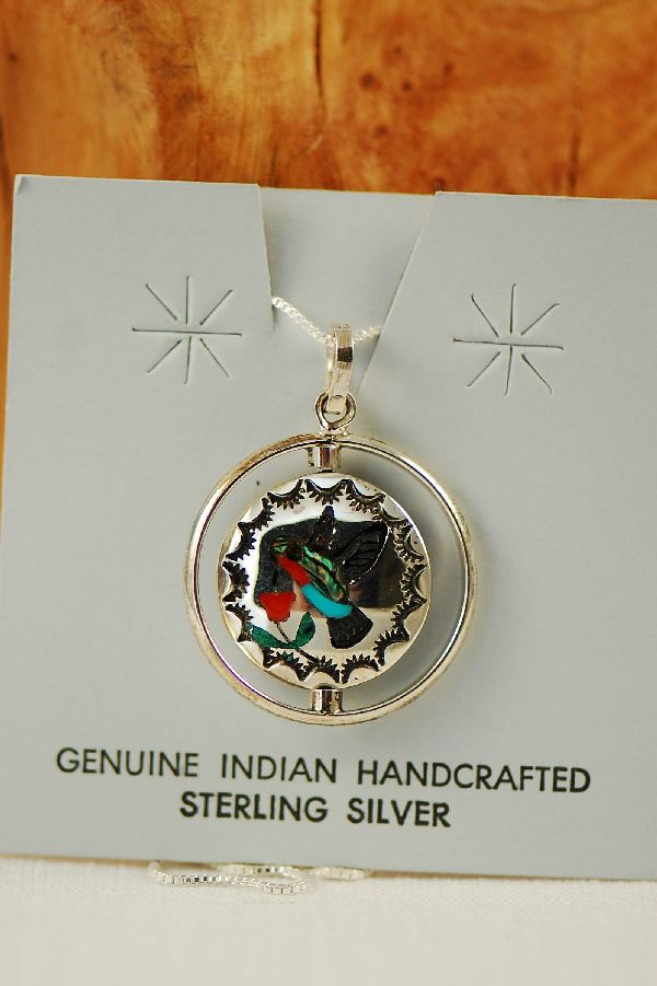Zuni – Inlaid Blue Jay and Hummingbird Sterling Silver Spinner Pendant by Quentin Quam