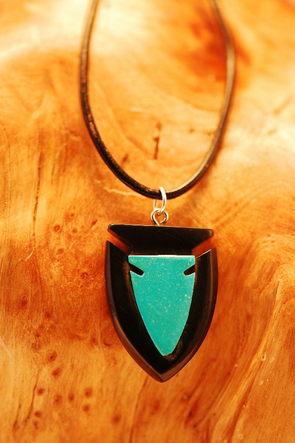 Navajo – Hand Carved Jet and Kingman Turquoise Arrowhead Pendant by DuWayne Turpen