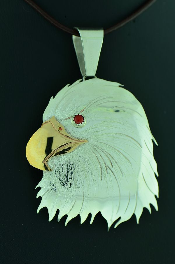 Native American Coral Eagle Pendant