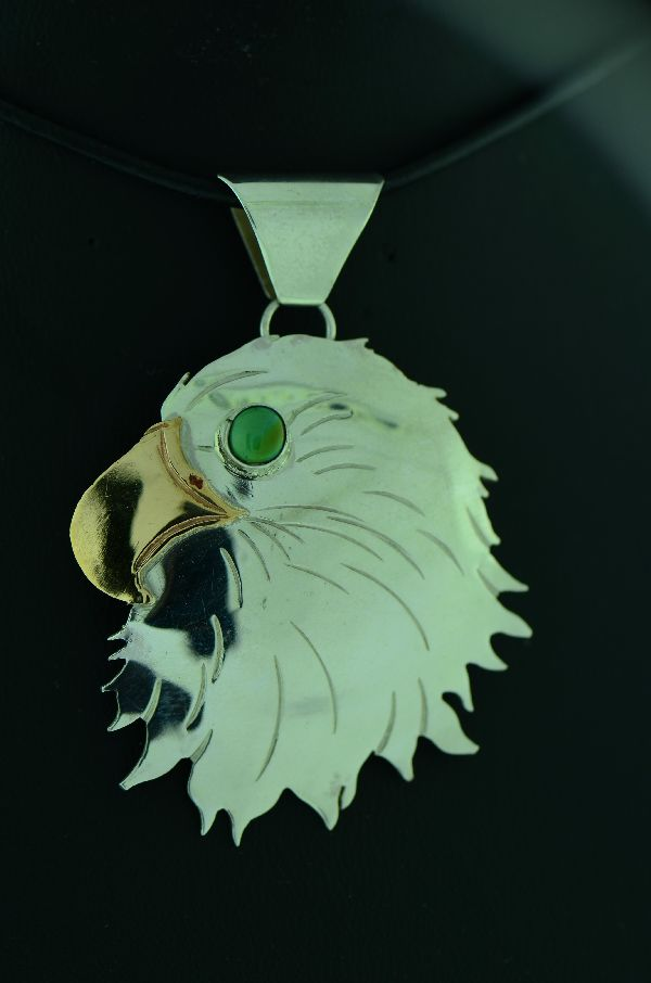Navajo - Sterling Silver and 12ktGF Turquoise Eagle Head Pendant by Chris Yazzie