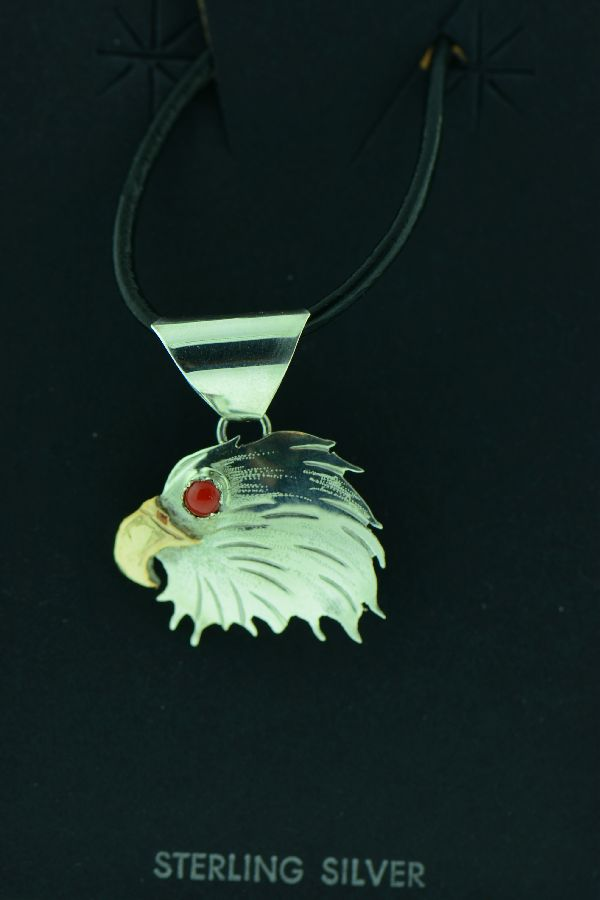 Navajo - Sterling Silver and 12ktGF Coral Eagle Head Pendant by Chris Yazzie