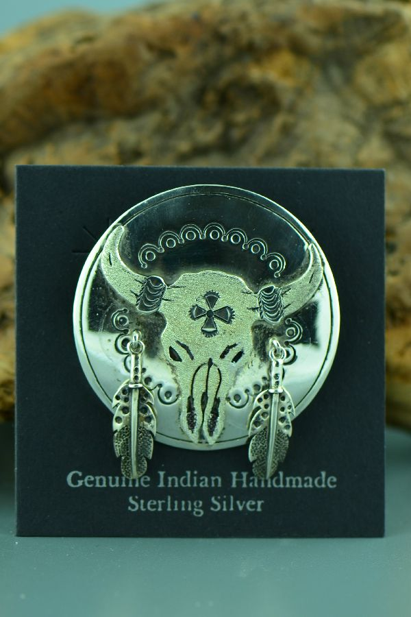Yakima/Shoshone  � Sterling Silver Buffalo Skull Pin by Jamie Two Feathers