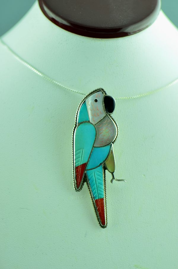 Zuni - Sterling Silver Inlaid Turquoise, Mother of Pearl, Coral and Jet Parrot Pin/Pendant by Leland Peyketewa