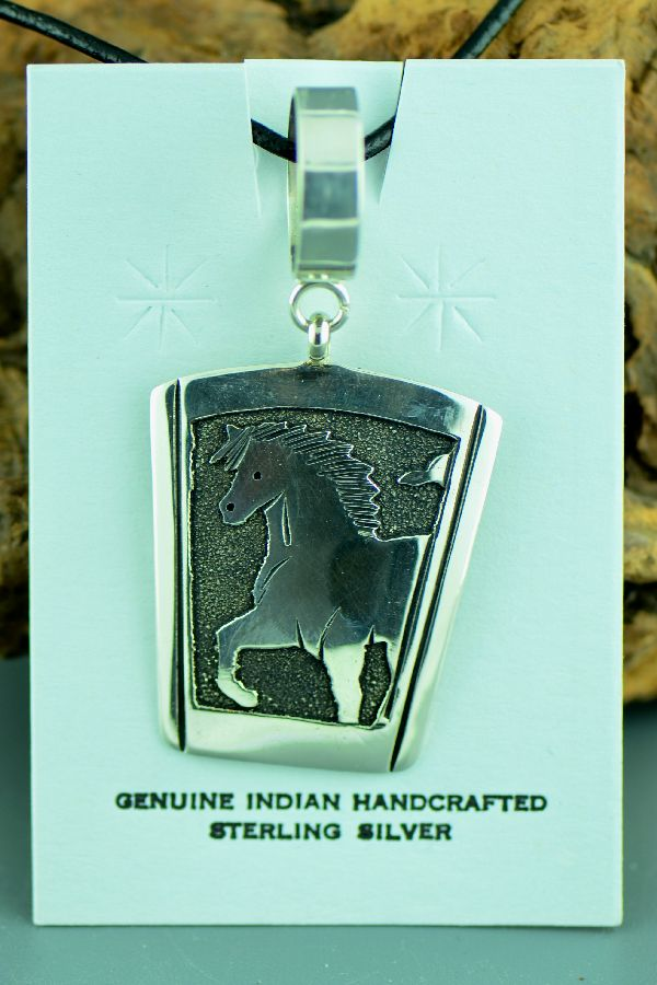 Navajo – Sterling Silver Horse Pendant by Tommy Singer