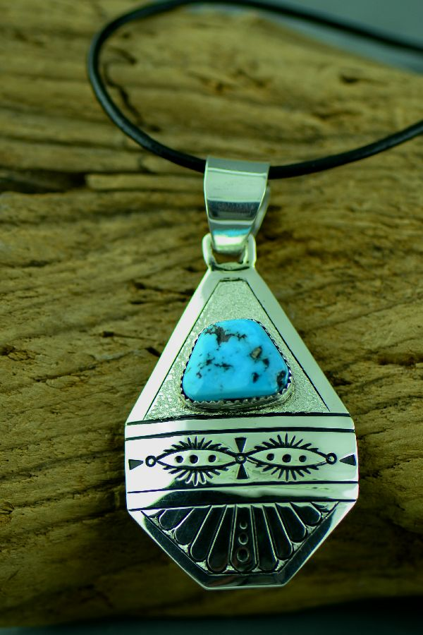 Navajo –Exquisite Hand Stamped Sterling Silver Sleeping Beauty Turquoise Pendant by Richard John