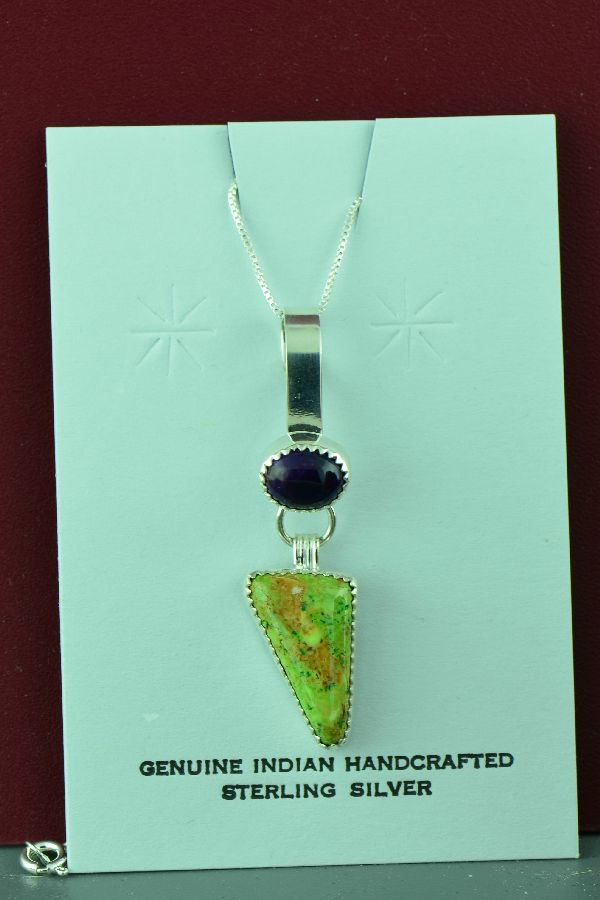 Navajo – Sterling Silver Manassas Turquoise and Sugilite Pendant by Paulson Thomas