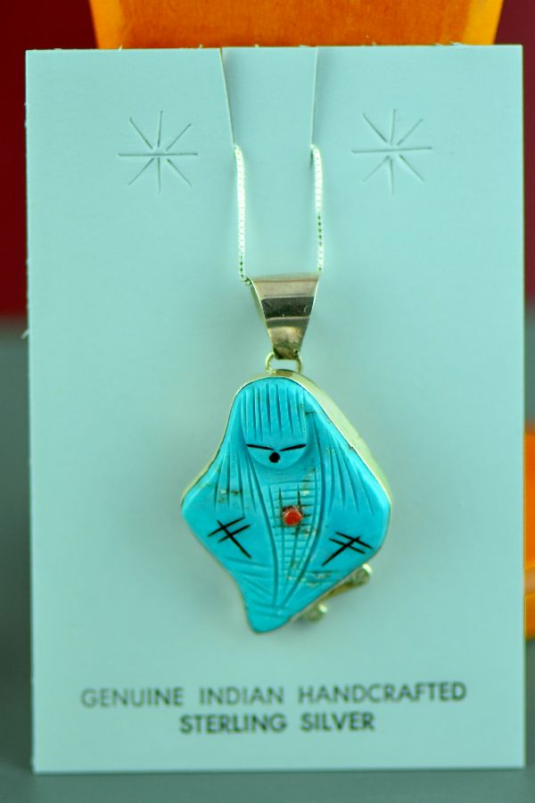 Zuni - Sterling Silver Inlaid Turquoise, Coral and Jet Corn Maiden Pin/Pendant by Chad Quandelacy