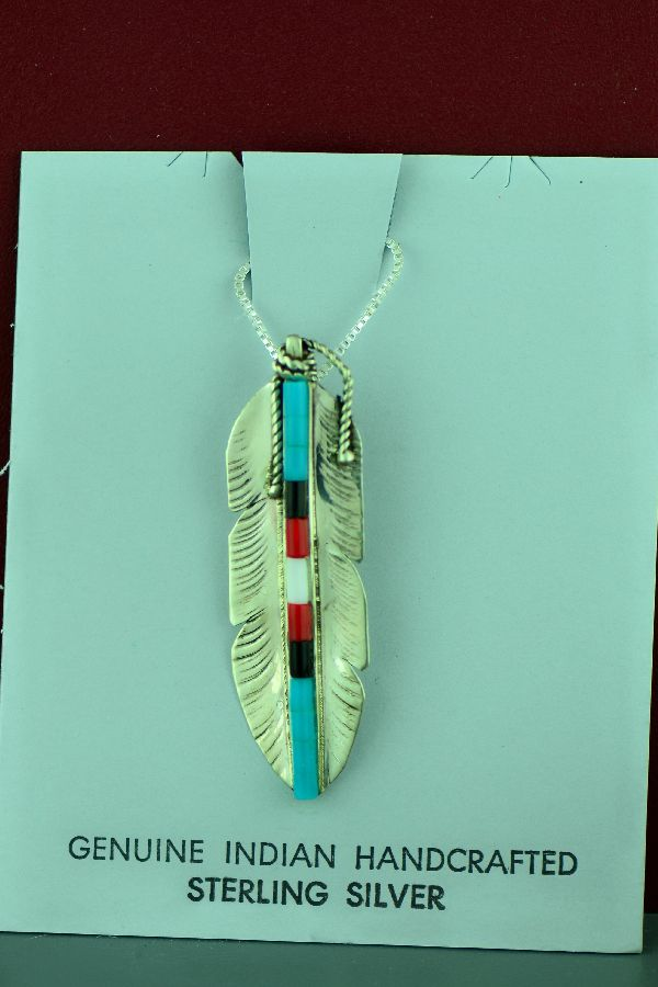 Alvin James - Sterling Silver Dyed Heishi Feather Pendant - Navajo