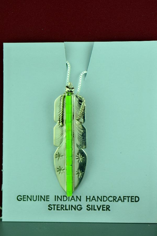 Navajo – Sterling Silver Dyed Green Heishi Feather Pendant by Alvin James