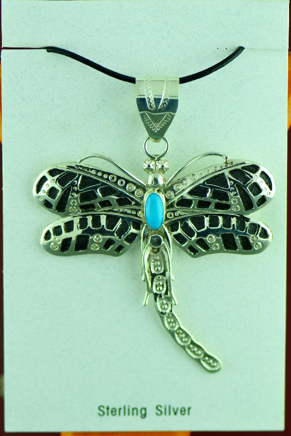 Navajo - Sterling Silver and Sleeping Beauty Turquoise Dragonfly Pendant by Alonzo Mariano